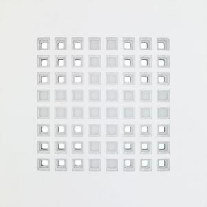 Struttura Mandala - Pitagorico 2008 | tela intagliata e dipinta, metallo speculare | cm 80x80